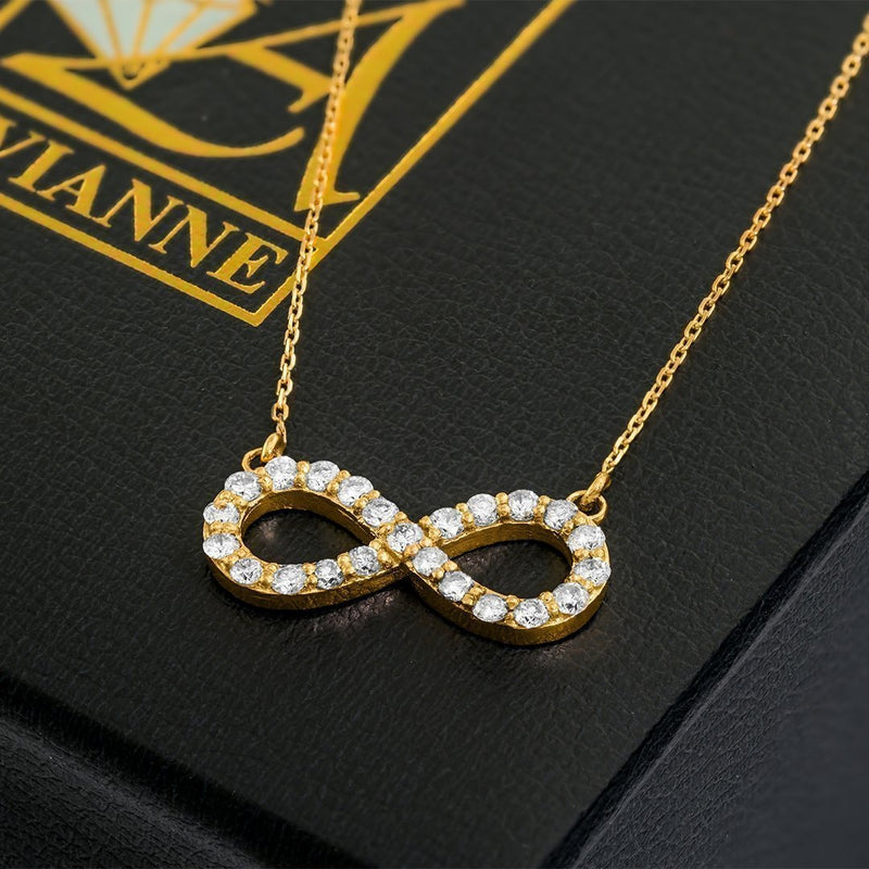 Yellow 14k Yellow Gold Diamond Infinity Necklace 0.37ct