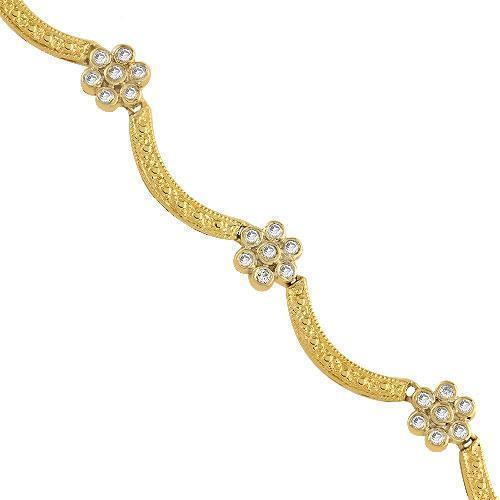 14K Yellow Solid Gold Womens  Diamond Flower Shaped Necklace  1.25 Ctw