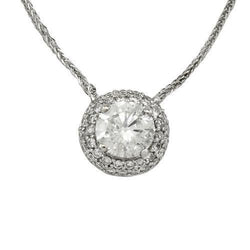 Clarity Enhanced Round Diamond 14k White Gold Necklace 1.58 Ctw