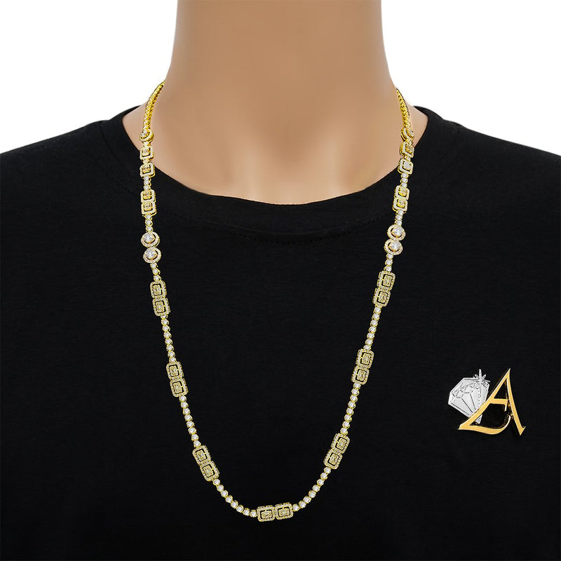 Diamond Baguette Box Necklace in 14k Yellow Gold 10.09 Ctw