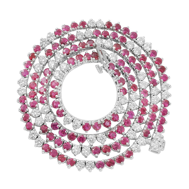 Diamond Ruby Tennis Necklace in 14k White Gold