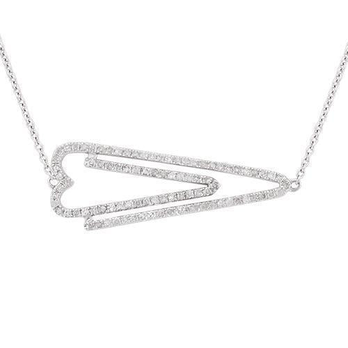 White Heart Arrow Diamond Necklace in 14k White Gold 0.37 Ctw
