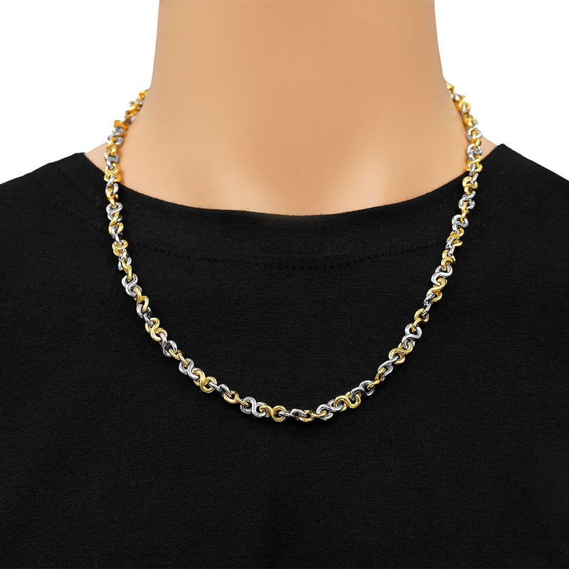 Infinity Link Necklace in 14k Two-Tone Gold