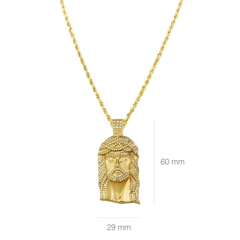 Yellow 10K Solid Yellow Gold Mens Jesus Head Pendant With Round Cut Diamonds 3.11 Ctw