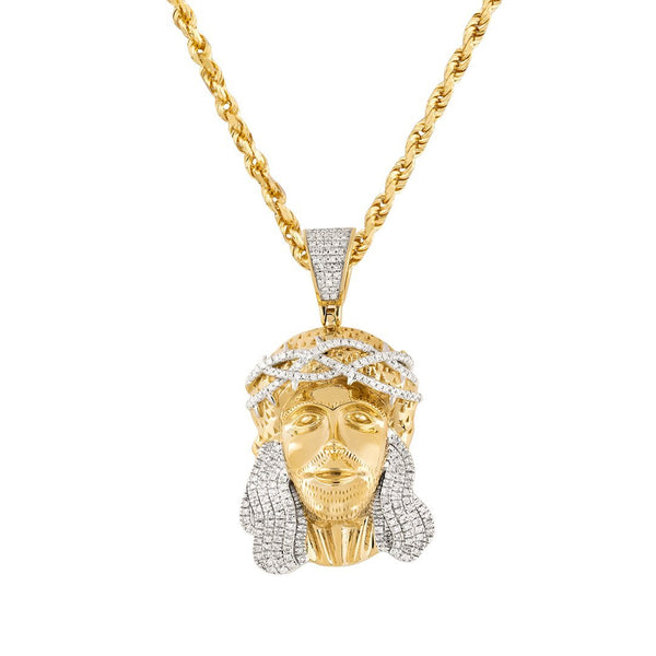 White, Yellow 10K Two Tone Gold Diamond Jesus Head Pendant 0.48 Ctw