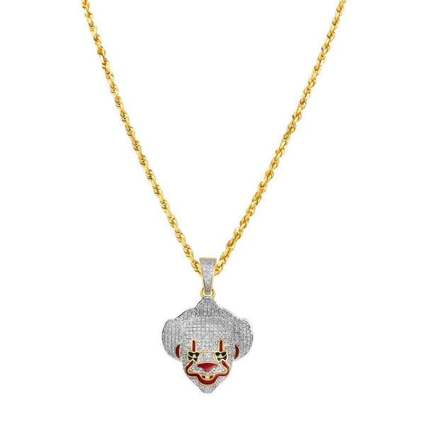 Yellow and White 10K Two Tone Gold Diamond Pennywise Clown Mask Pendant 0.84 Ctw