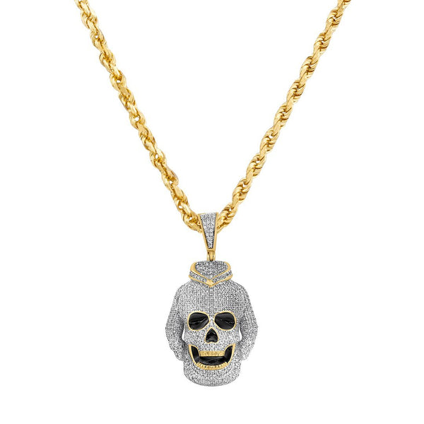 Yellow and White 10K Two Tone Gold Diamond Skull Hoodie Pendant 1.41 Ctw