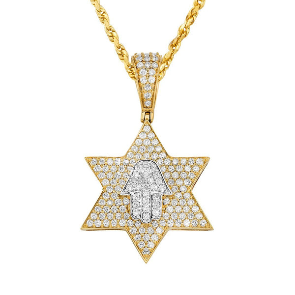 10K Two Tone Gold Diamond Star of David and Hamsa Pendant 1.50 Ctw