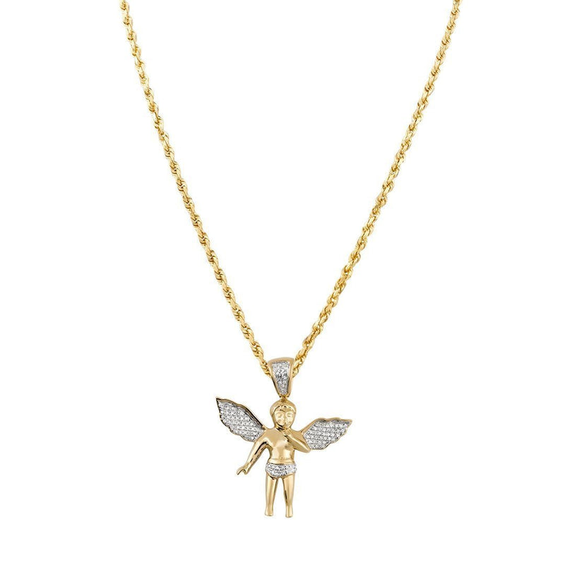 White, Yellow 10k Yellow Gold Angel Pendant 0.25 Ctw
