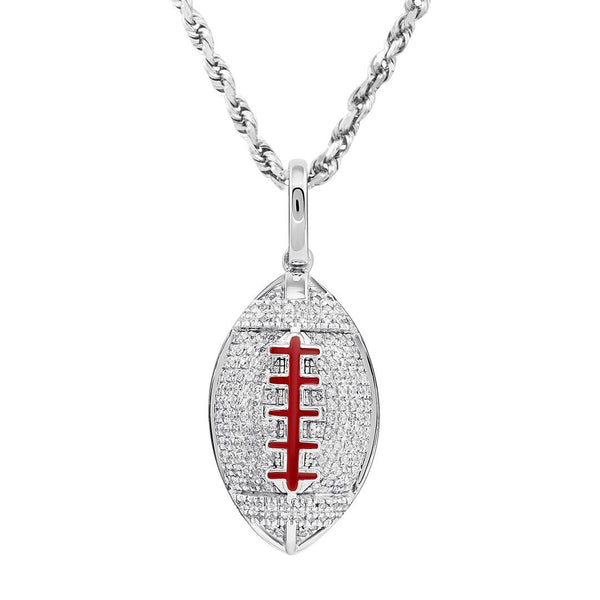 10K Yellow Gold Diamond American Football Ball Pendant 0.40 Ctw