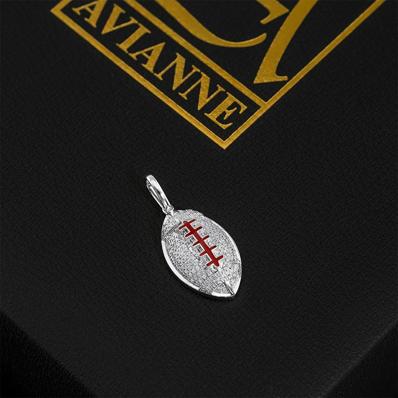 10K Yellow Gold Diamond American Futball Ball Pendant 0.40 Ctw