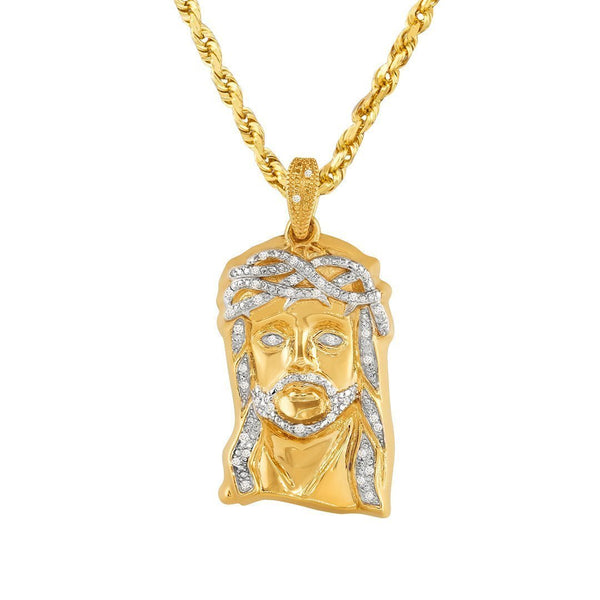 Yellow 10k Yellow Gold Diamond Jesus Head Pendant 0.25 Ctw