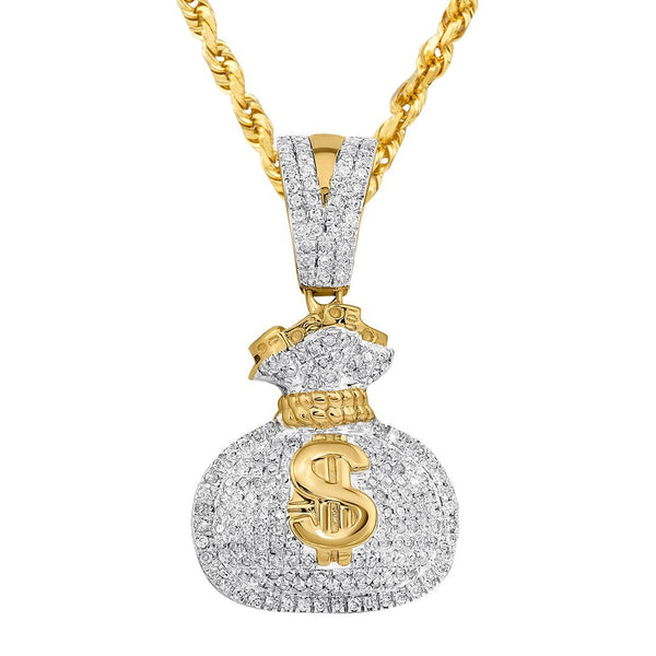 10K Yellow Gold Diamond Money Bag Pendant 0.44 Ctw