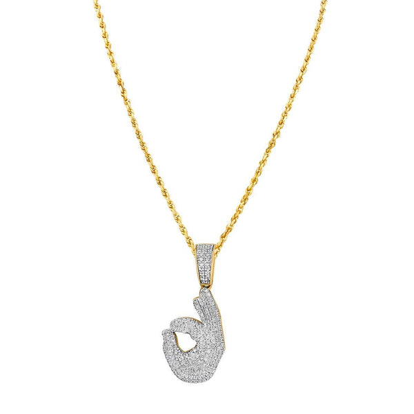 10K Yellow Gold Diamond Okay Hand Sign Pendant 0.35 Ctw