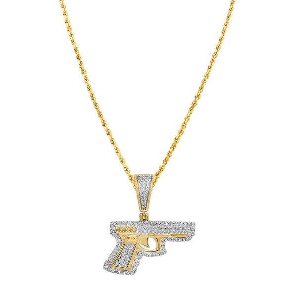 10K Yellow Gold Diamond Pistol Gun Pendant 0.40 Ctw