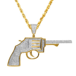 10K Yellow Gold Diamond Revolver Gun Pendant 0.65 Ctw