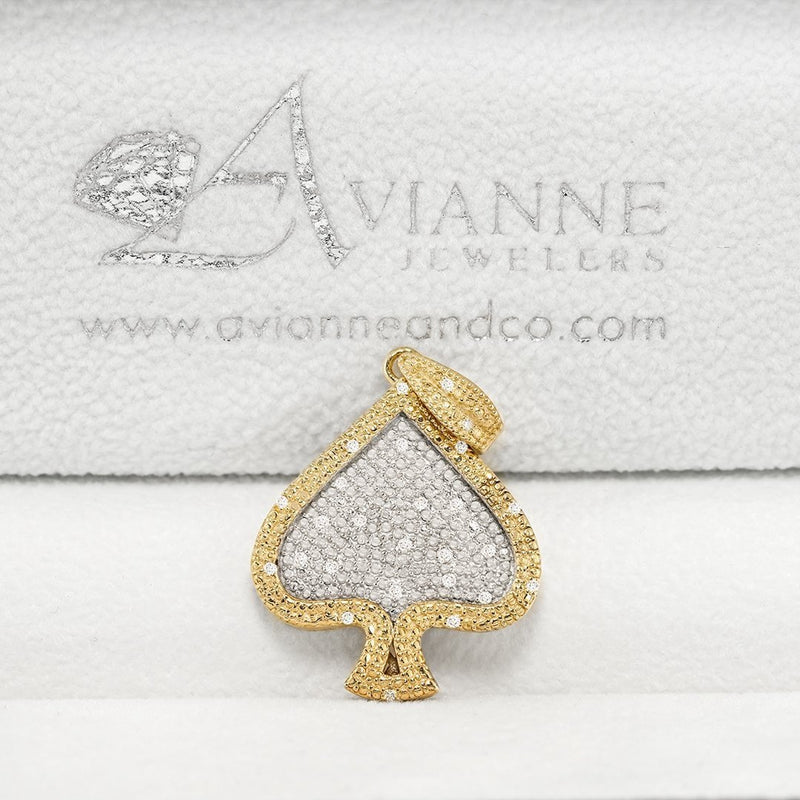 Yellow 10k Yellow Gold Diamond Spade Heart Pendant 0.10 Ctw
