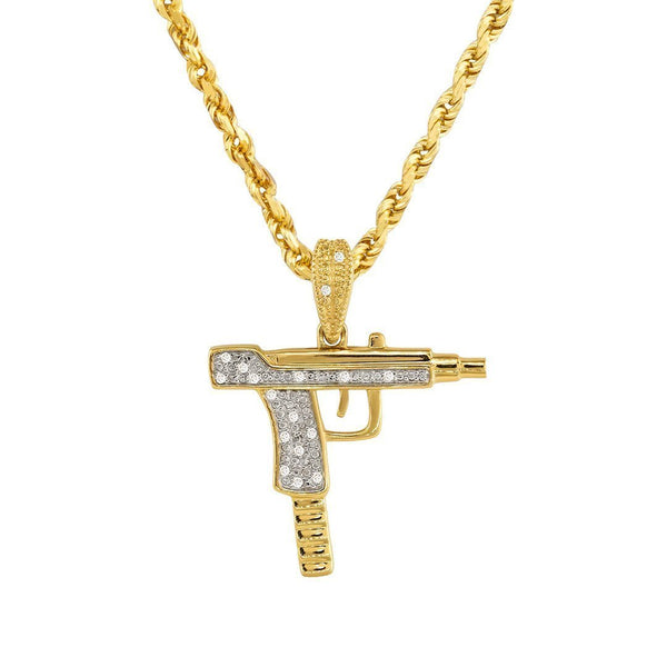 Yellow 10k Yellow Gold Diamond Uzi Pistol Pendant 0.10 Ctw