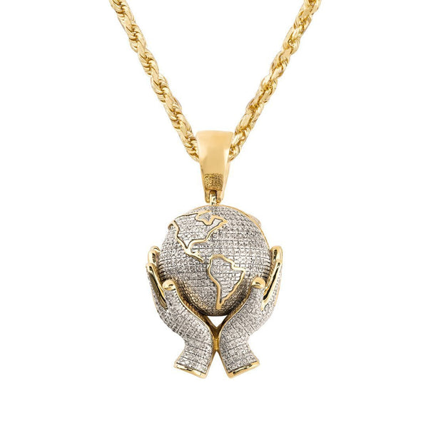 White, Yellow 10k Yellow Gold World in Your Hands Pendant 1 Ctw