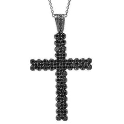 14K Black Rhodium Plated Mens Black Diamond Cross 11.50 Ctw