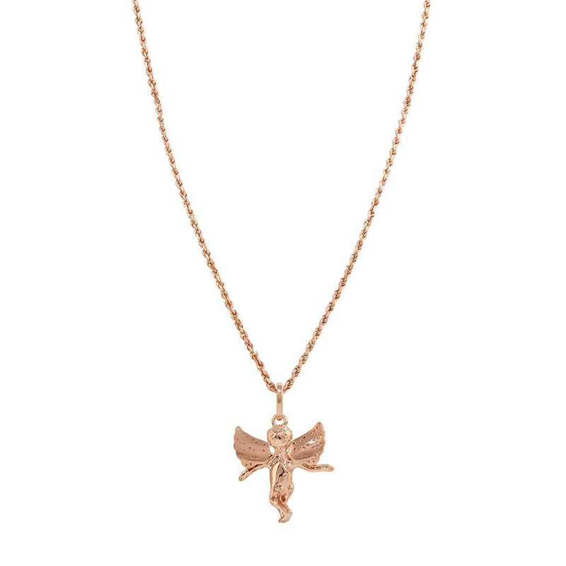 Rose 14K Rose Gold Diamond Angel Pendant 1.00 Ctw