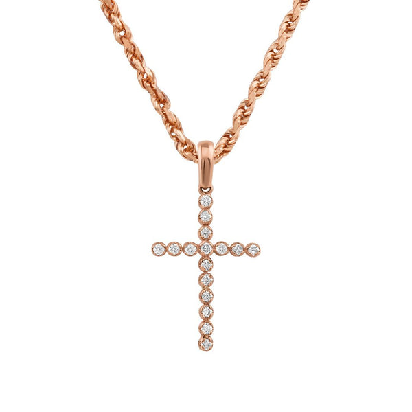 Rose 14k Rose Gold Diamond Cross Pendant 0.35 Ctw
