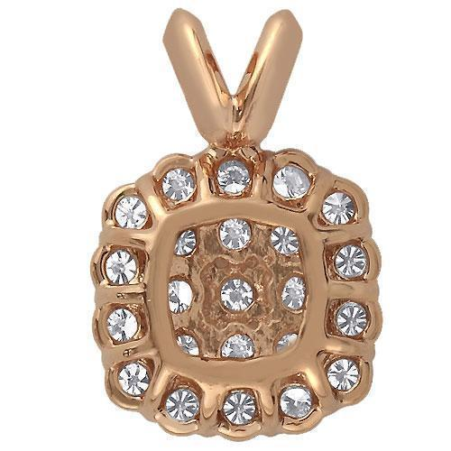 Rose 14K Rose Solid Gold Diamond Square Halo Pendant 0.75 Ctw