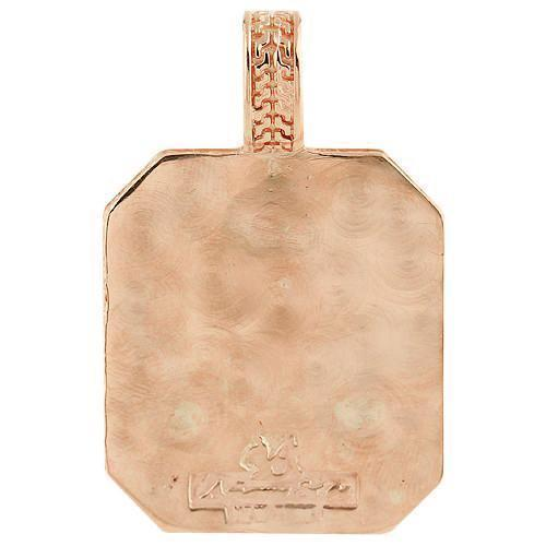 14K Rose Solid Gold Mens Diamond Custom Made Scorpion Dog Tag Pendant 1.50 Ctw