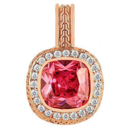 14K Rose Solid Gold Mens Diamond Pink Sapphire Pendant 1.75 Ctw