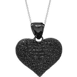 14K Solid Gold Black Rhodium Plated Womens Diamond Heart Pendant with Black Diamonds 2.21 Ctw