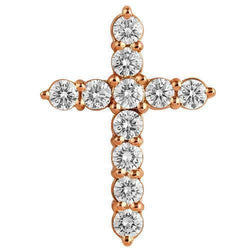 14K Solid Rose Gold Diamond Cross Pendant 3.90 Ctw