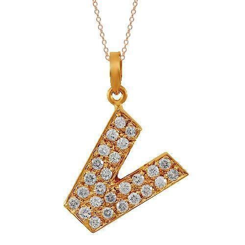 Rose 14K Solid Rose Gold Diamond Letter Initial V Pendant 0.75 Ctw