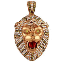 14K Solid Rose Gold Mens Custom Design Diamond Tiger Pendant With White And Yellow Diamonds