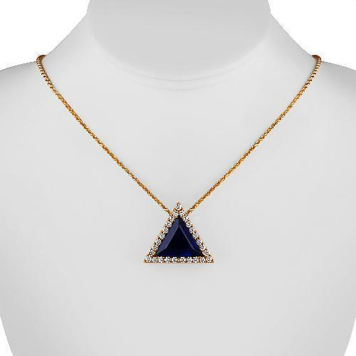 14K Solid Rose Gold Triangular Diamond Pendant with Blue Sapphire 15.00 Ctw