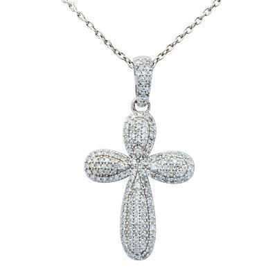 White 14K Solid White Gold Brilliant Pave Set Diamond Cross Pendant