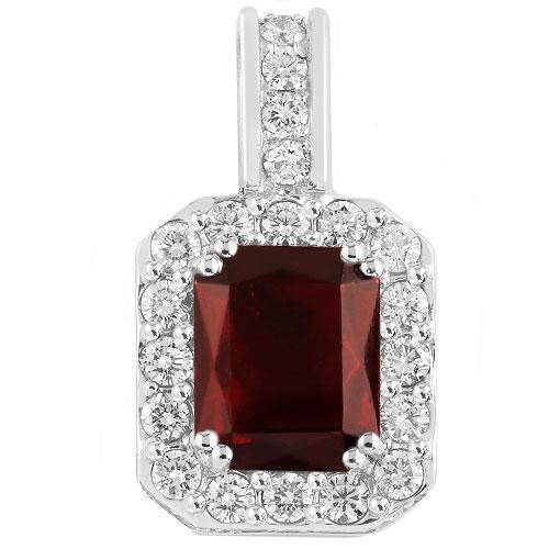 14K Solid White Gold Diamond And Ruby Pendant 2.70 Ctw