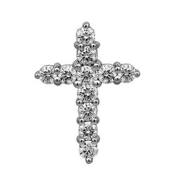 14K Solid White Gold Diamond Cross Pendant 1.75 Ctw
