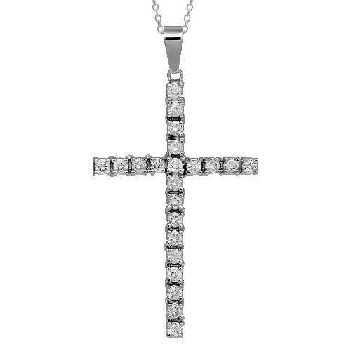 14K Solid White Gold Diamond Cross Pendant 1.95 Ctw