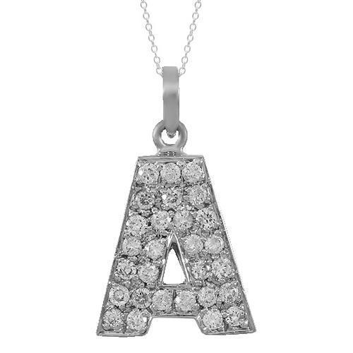 White 14K Solid White Gold Diamond Letter Initial A Pendant 1.00 Ctw