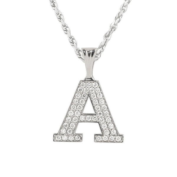 White 14K Solid White Gold Diamond Letter Initial A Pendant 1.45 Ctw