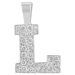White 14K Solid White Gold Diamond Letter Initial L Pendant 1.10 Ctw