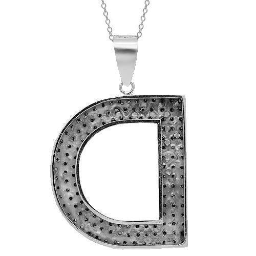 14K Solid White Gold Mens Blue Diamond Initial Letter Pendant 4.13 Ctw