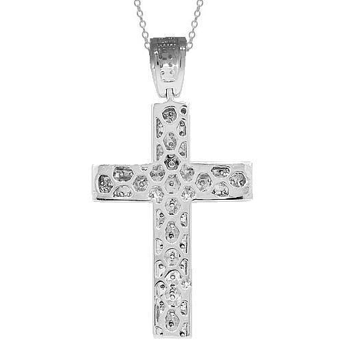 14K Solid White Gold Mens Diamond Cross Pendant 6.30 Ctw