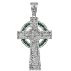 14K Solid White Gold Mens Diamond Cross Pendant with Emeralds 6.50 Ctw