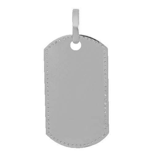 14K Solid White Gold Mens Diamond Dog Tag Pendant 1.50 Ctw
