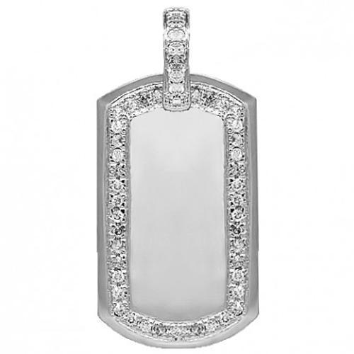 14K Solid White Gold Mens Diamond Dog Tag Pendant 1.97 Ctw