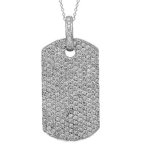 14K Solid White Gold Mens Diamond Dog Tag Pendant 11.00 Ctw