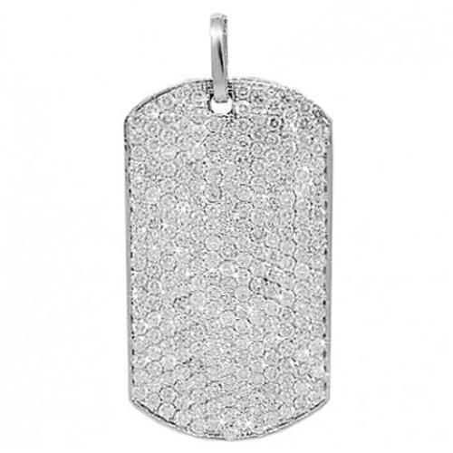 14K Solid White Gold Mens Diamond Dog Tag Pendant 6.60 Ctw
