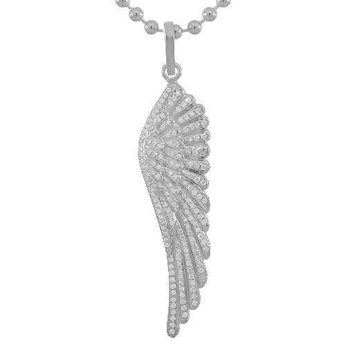 14K Solid White Gold Mens Diamond Wing Pendant 5.00 Ctw