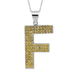 14K Solid White Gold Mens Yellow Diamond Initial Letter Pendant 2.50 Ctw